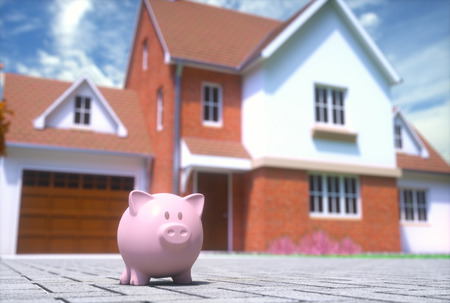3D illustration. Little piggy bank on the sidewalk in front of the dream house. Stock Photo