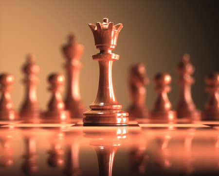 The Queen in highlight. Pieces of chess game, image with shallow depth of field.