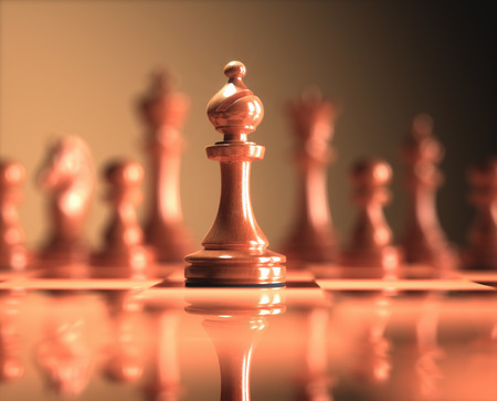 The Bishop in highlight. Pieces of chess game, image with shallow depth of field. Stock Photo