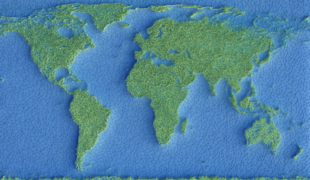 Map of the planet Earth represented by green grass and the oceans by a network of connections in blue. 3D illustration. Stock Photo