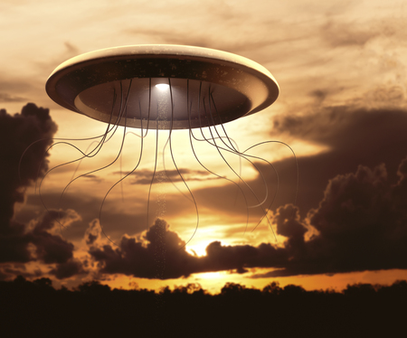Extraterrestrial spaceship invading planet Earth. Concept image, war of the worlds.
