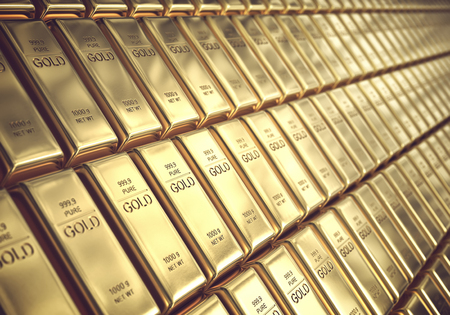 Gold bars 1000 grams. Concept of success in business and finance.