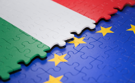 Flag of the Hungary and the European Union in the form of puzzle pieces in concept of politics and economic union. Imagens