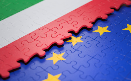 Flag of the Italy and the European Union in the form of puzzle pieces in concept of politics and economic union.