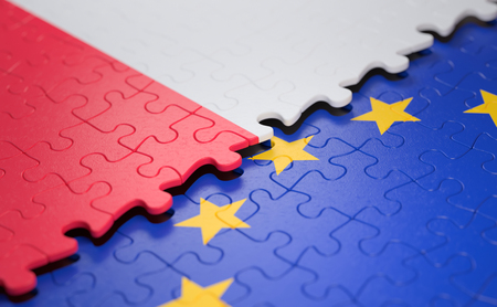 Flag of the Poland and the European Union in the form of puzzle pieces in concept of politics and economic union. 스톡 콘텐츠