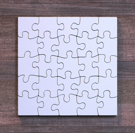 Blank puzzle in square format with wooden background. Concept of modern art using simple objects.