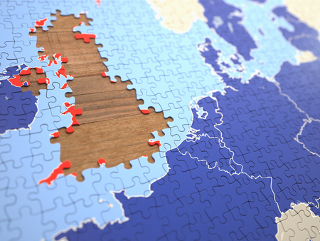 Puzzle with missing pieces from United Kingdom. Concept of the UK leaving the European Union.