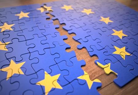 Rompecabezas terminado, pero dividido por la mitad. Concepto de ruptura de la Unión Europea. Foto de archivo