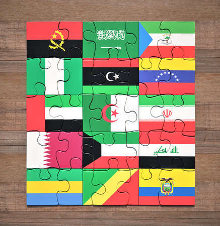 Jigsaw puzzle with the flags of the countries of the Organization of the Petroleum Exporting Countries.