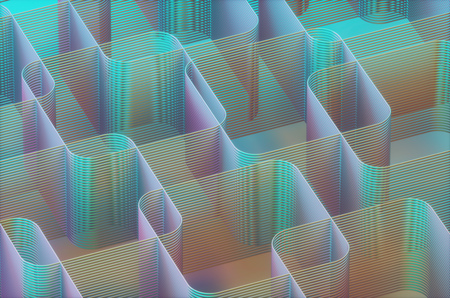 3D illustration. Artistic abstract tubular structure. Image with light and colorful shadow.