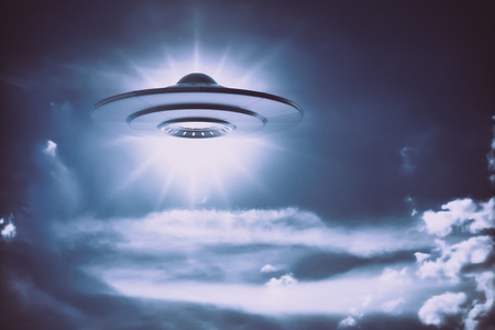 Unidentified flying object. Old style photo with noise of high ISO film. Stock Photo