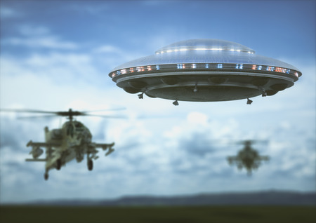 Military helicopters intercepting an unidentified flying object. Concept image of non-pacific invasion of beings from other planets. Stock Photo