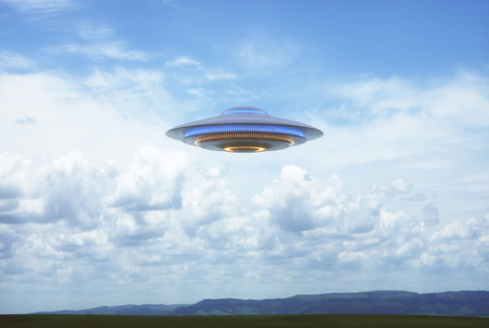 Unidentified flying object UFO in cloudy blue sky. 3D illustration in real picture. Stock Photo