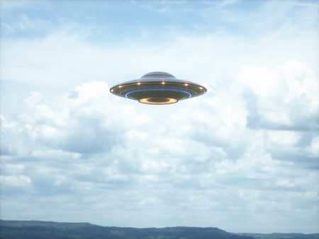 Unidentified flying object. UFO with clipping path included. 3D illustration in real picture. Stock Photo