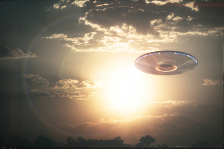 Unidentified flying object UFO in cloudy sky. 3D illustration in real picture. Old style film photo.