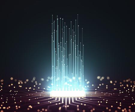 Künstliche Intelligenz. Mikrochipverbindungen, elektrische Impulse und Binärcodes.