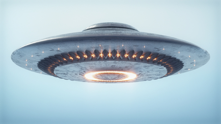 Unidentified flying object. UFO with clipping path included. 스톡 콘텐츠