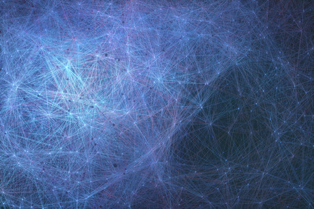 Interconnected artificial neurons, biomechanical cells connected in a concept of artificial intelligence.