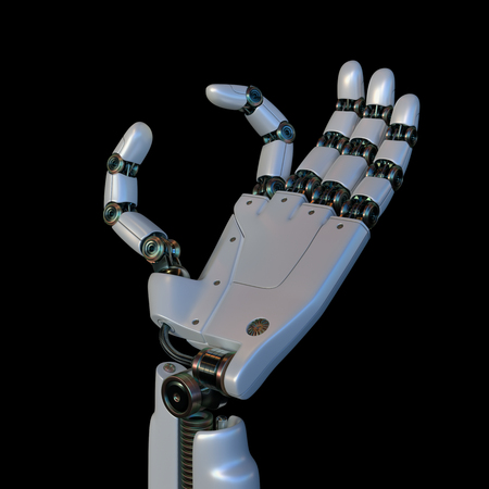 Robotic hand on black background. Your text or image between the robot's fingers.