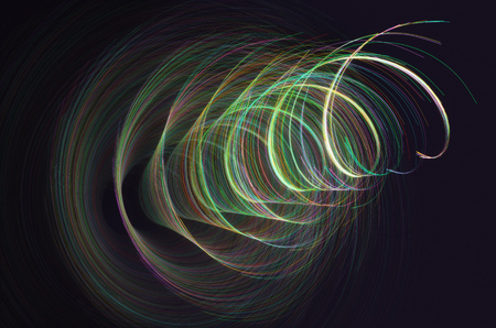 3D illustration. Colored lines in spiral motion. Abstract concept image, artistic colorful background.