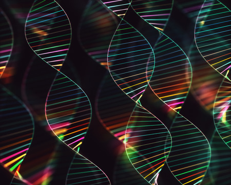 Image of genetic codes DNA. Concept image for use as background. Colored 3D illustration. Stock Illustration - 119549720