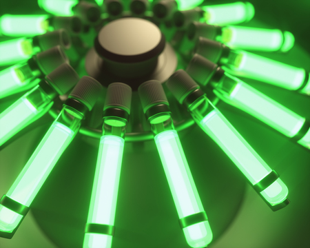 Centrifugal machine with several test tubes with chemical luminescent material. 3D illustration.