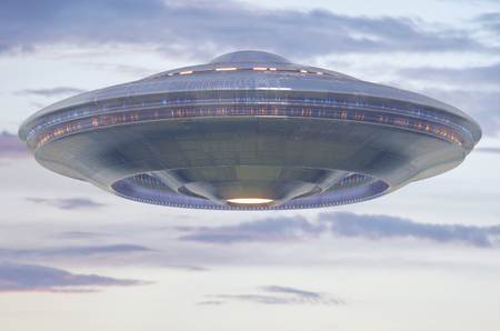 Unidentified flying object UFO with clipping path included. 3D illustration. Reklamní fotografie
