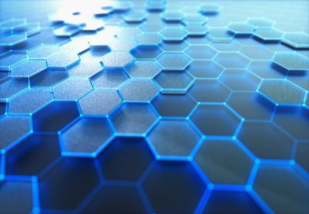 Conceptueel abstract beeld met zeshoekige structuurverbinding. Stockfoto