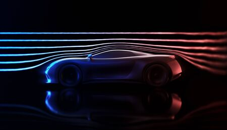 Sports car concept made in 3D software. 免版税图像