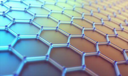Conceptueel abstract beeld met hexagonale structuurverbinding Stockfoto