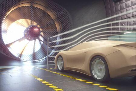 Gliniany samochód wewnątrz tunelu aerodynamicznego. Projekt bez odniesienia do prawdziwego samochodu i bez praw autorskich.
