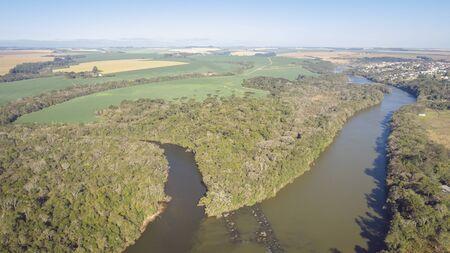 Flight over the Tibagi river in the Tibagi city of Parana state, Brazil.