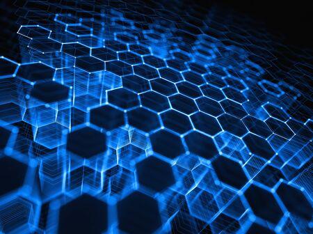 Dreidimensionales Netz aus Linien und Punkten in abstrakter Form im Technologiekonzept.