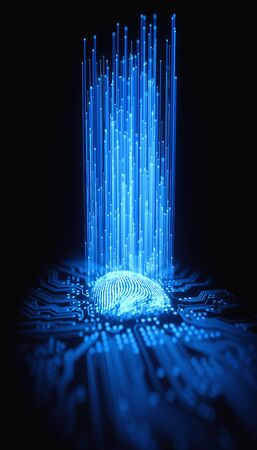 Vingerafdruk geïntegreerd in een gedrukt circuit, waardoor binaire codes vrijkomen. Stockfoto