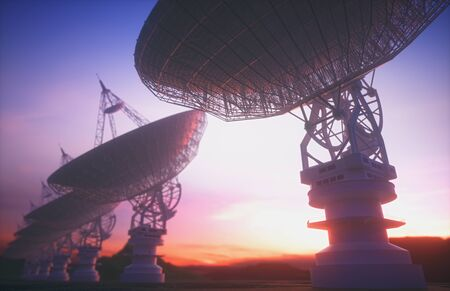 Huge satellite antenna dish for communication and signal reception out of the planet Earth. Observatory searching for radio signal in space at sunset. 3D illustration. 写真素材