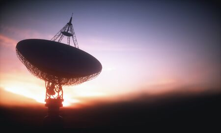 Huge satellite antenna dish for communication and signal reception out of the planet Earth. Observatory searching for radio signal in space at sunset. 3D illustration. 스톡 콘텐츠
