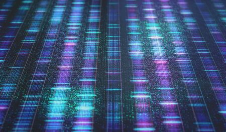 DNA code, Sanger sequence in binary digital storage. 3D Illustration of a method of colored DNA sequencing. Stock Illustration - 133169756