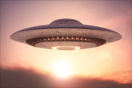 Unidentified flying object - UFO. Science Fiction image concept of ufology and life out of planet Earth.