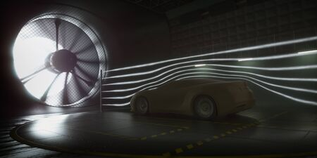 Coche deportivo imaginario, modelado y creado mediante software CAD. Prototipo conceptual dentro del túnel aerodinámico. Foto de archivo
