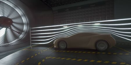 Imaginary sports car, modeled and created using CAD software. Conceptual prototype inside aerodynamic tunnel.