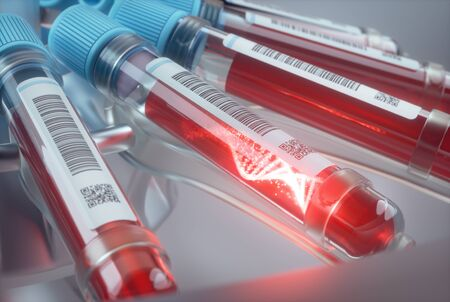 Blood cells, molecule of DNA forming inside the test tube. 3D illustration, conceptual image of science and technology.