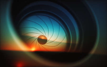 Macro photography from inside an objective lens and its details like the diaphragm blades. Reflection of the sky in the camera lens.