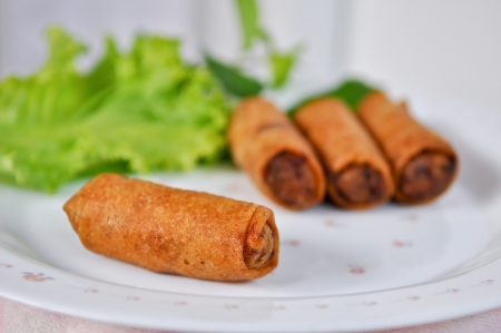 spring roll: Snacks made from flour, Oyster, pork, Mushroom and various vegetables and seasoning with sauce. Stock Photo