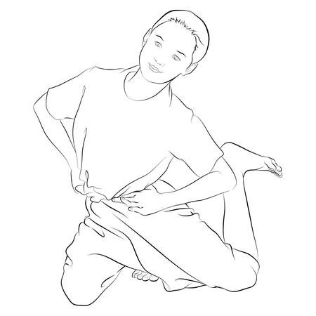 thai dance: Vector of traditional Thai dancer called  KRA-DOK-SEAO-NANG  Body language the art of Thai dancing