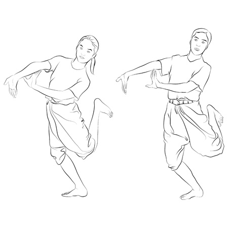 thai dance: traditional Thai dancer called   Dancing - pair   or   RAM-KOO   Body language the art of Thai dance  Illustration