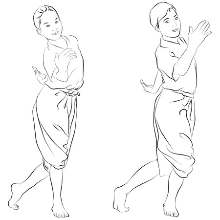 traditional Thai dancer  Body language the art of Thai dance  Vector