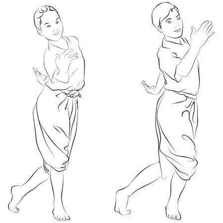 thai dance: traditional Thai dancer  Body language the art of Thai dance