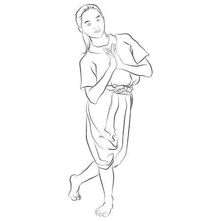 thai dance: traditional Thai dancer  Body language the art of Thai dance,this pose is called