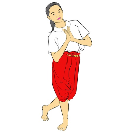 folk dance: Vector of traditional Thai dancer  Body language the art of Thai dance,this pose is called  Illustration