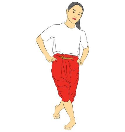 Vettore di lingua tailandese tradizionale del corpo ballerino l'arte della danza Thai